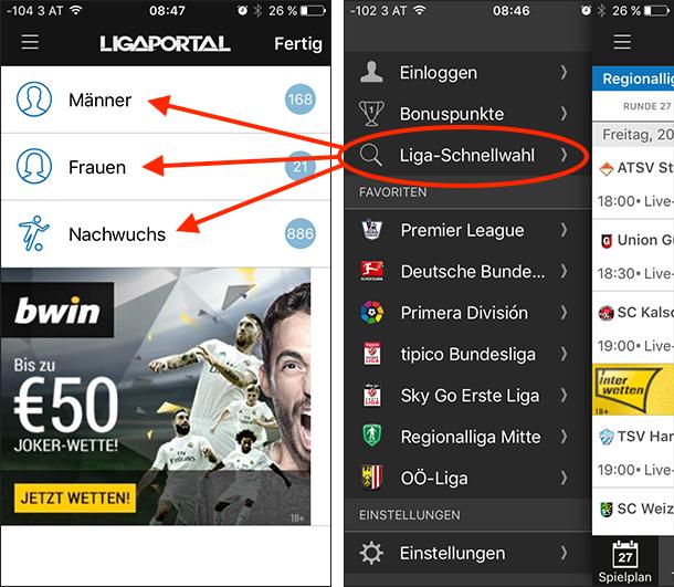 Neue Liga-Schnellwahl in der Ligaportal Fußball-App inklusive Nachwuchsfußball, Frauenfußball und Reservemannschaften