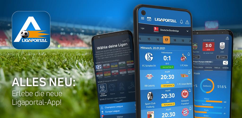 Erlebe die neue Ligaportal Fußball App für Android und iPhone