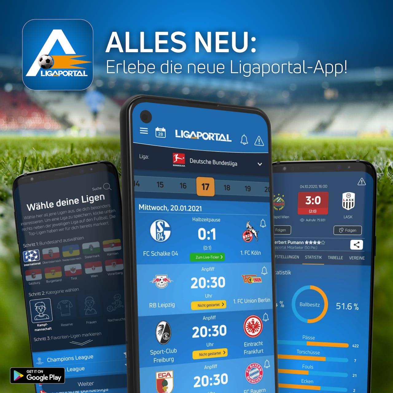 Erlebe die  brandneue Ligaportal Android-App!
