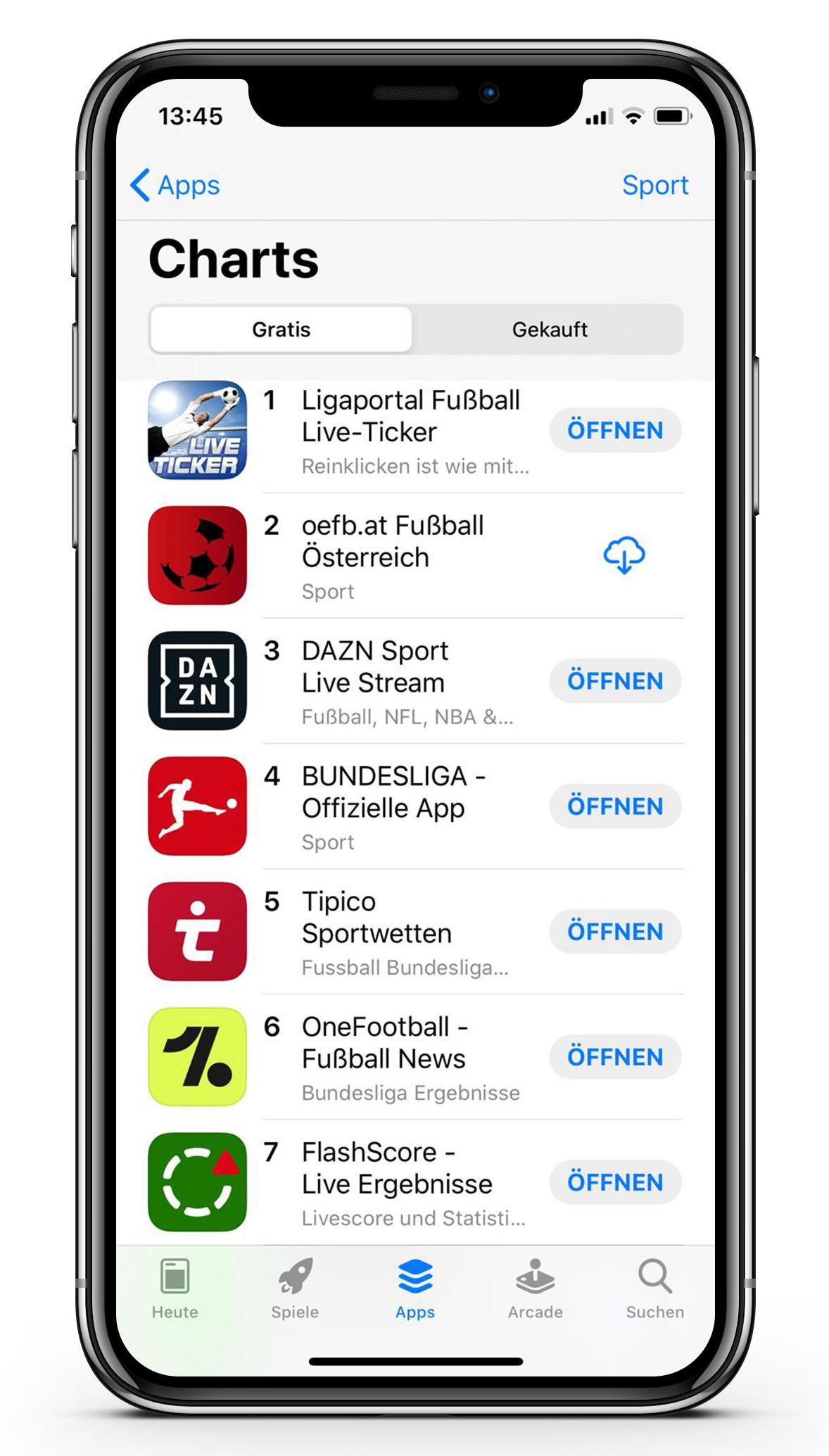 Österreichs beliebteste Fußball-App auf Platz 1 in den App Store Charts