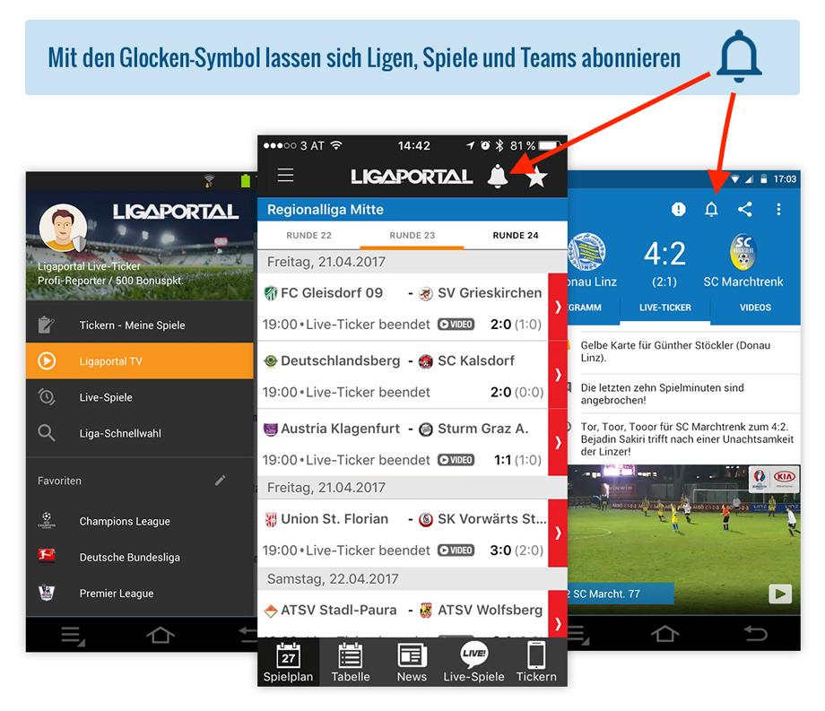 Ligaportal Fußball App für Android und iPhone