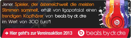 Jener Spieler, der österreichweit die meisten Stimmen sammelt, erhält von ligaportal.at einen trendigen Kopfhörer von beats by dr. dre im Wert von 300 Euro