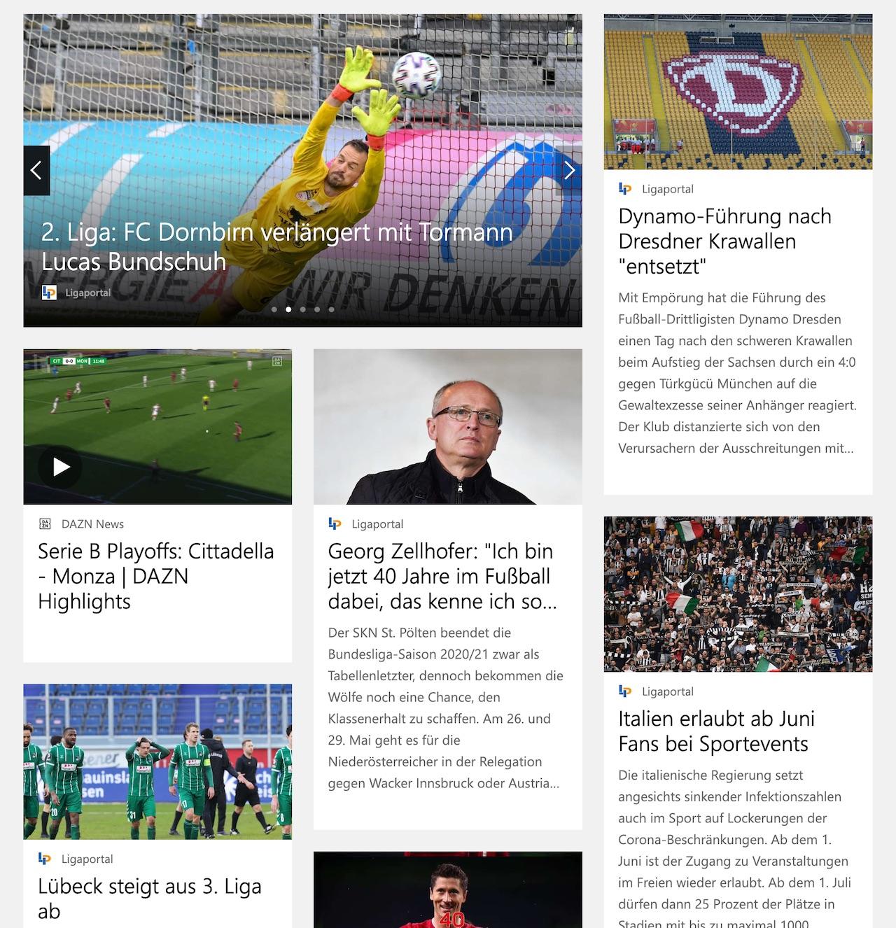 Ligaportal auf MSN