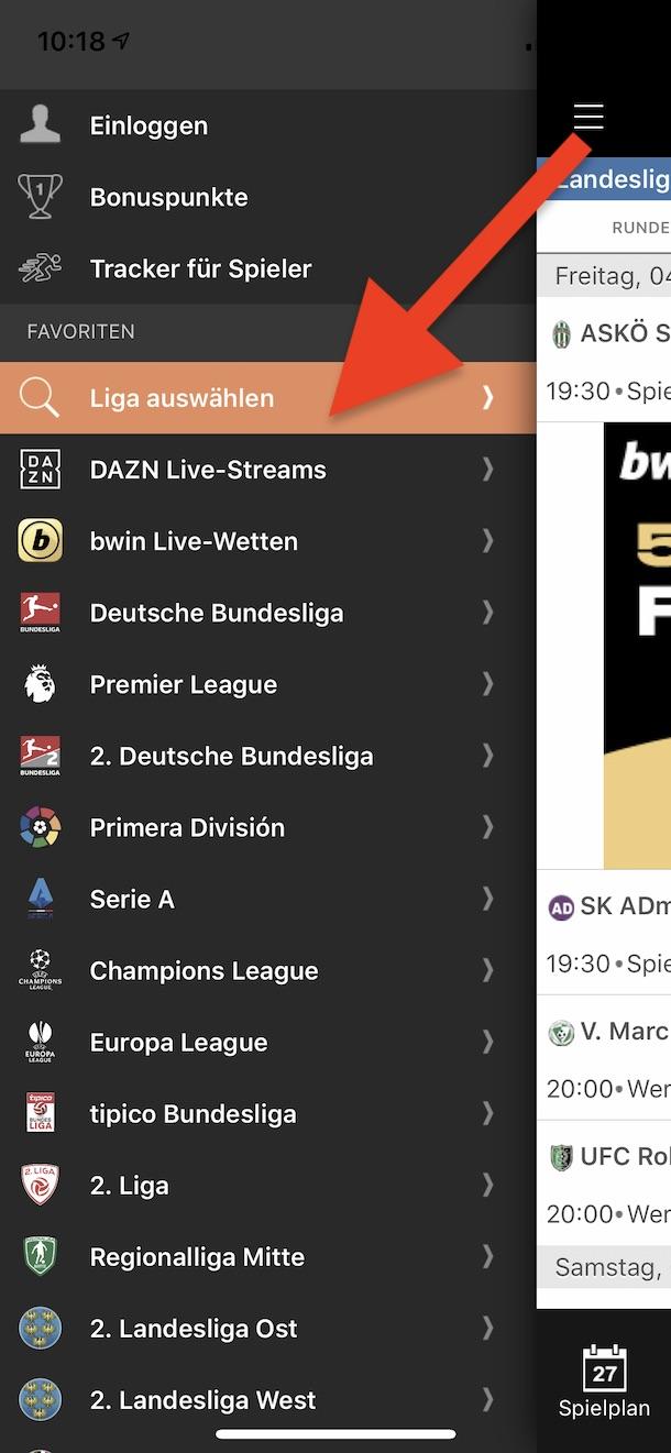 Wo finde ich den Fußball-Nachwuchs in der Live-Ticker App?