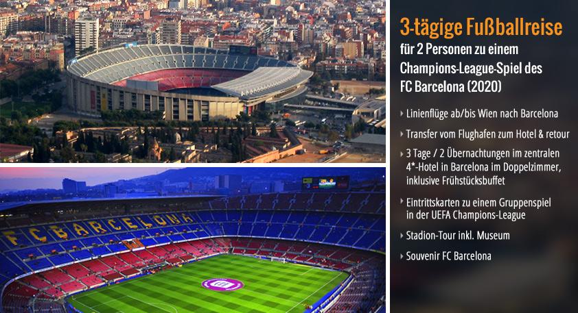 1. Preis: 3-tägige Fußballreise für 2 Personen zu einem Champions-League-Spiel des FC Barcelona (2019)