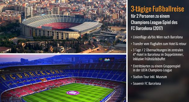 1. Preis: 3-tägige Fußballreise für 2 Personen zu einem Champions-League-Spiel des FC Barcelona (2017)