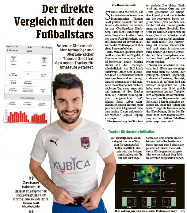 Fußball Tracker im Test in der Kleinen Zeitung