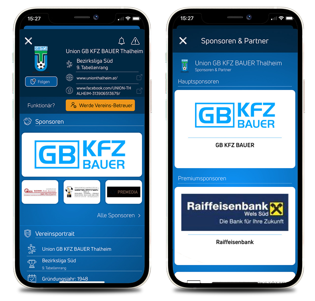 Präsentiere eure Vereinssponsoren in der Ligaportal App