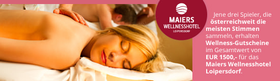 Jene drei Spieler, die österreichweit die meisten Stimmen sammeln, erhalten Wellness-Gutscheine im Gesamtwert von EUR 1.500,- für das Maiers Wellnesshotel Loipersdorf.