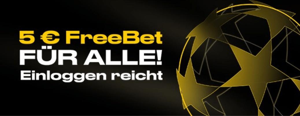 5 Euro Freebet - einloggen genügt