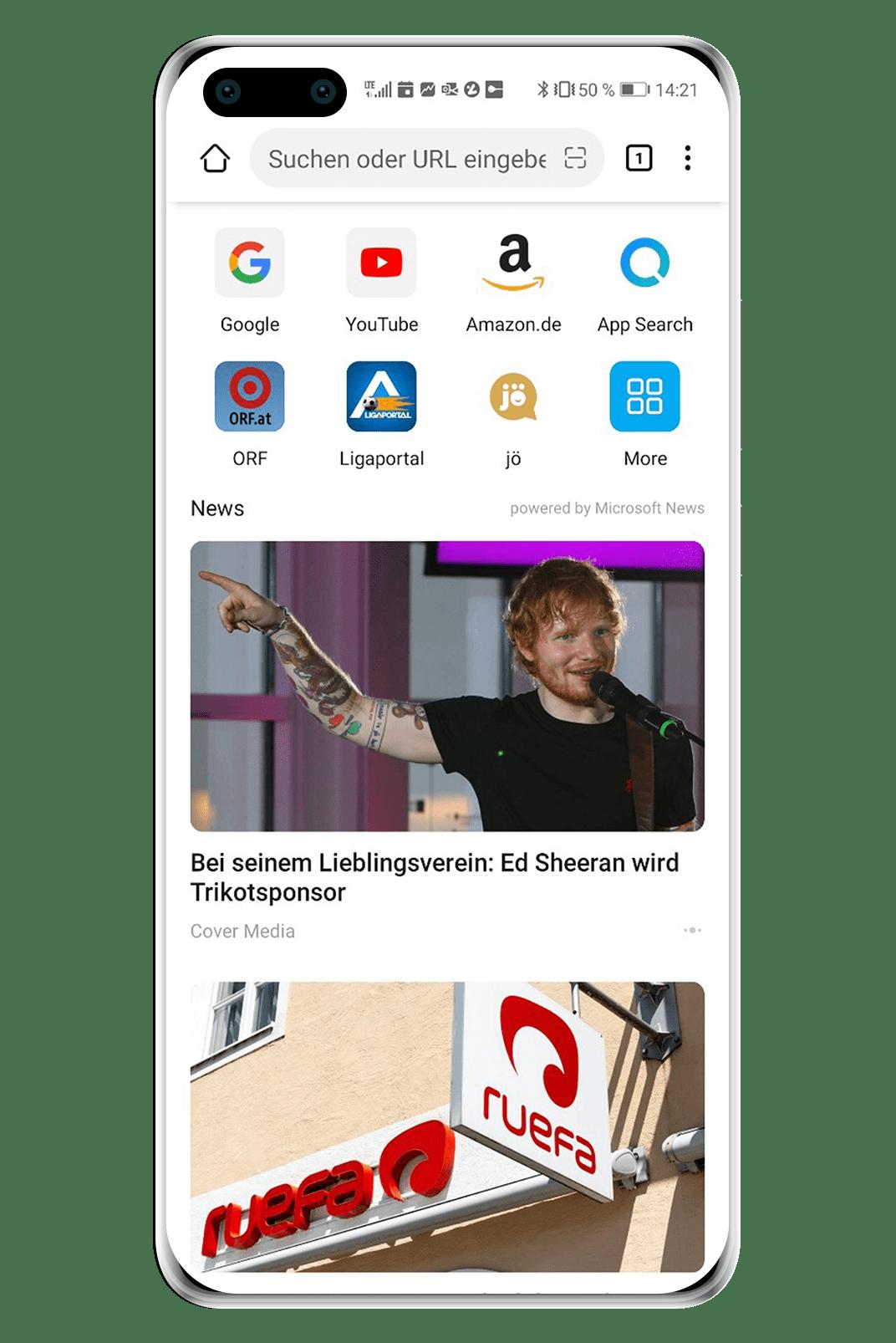 Ligaportal als Shortcut im Huawei Browser Speed Dial